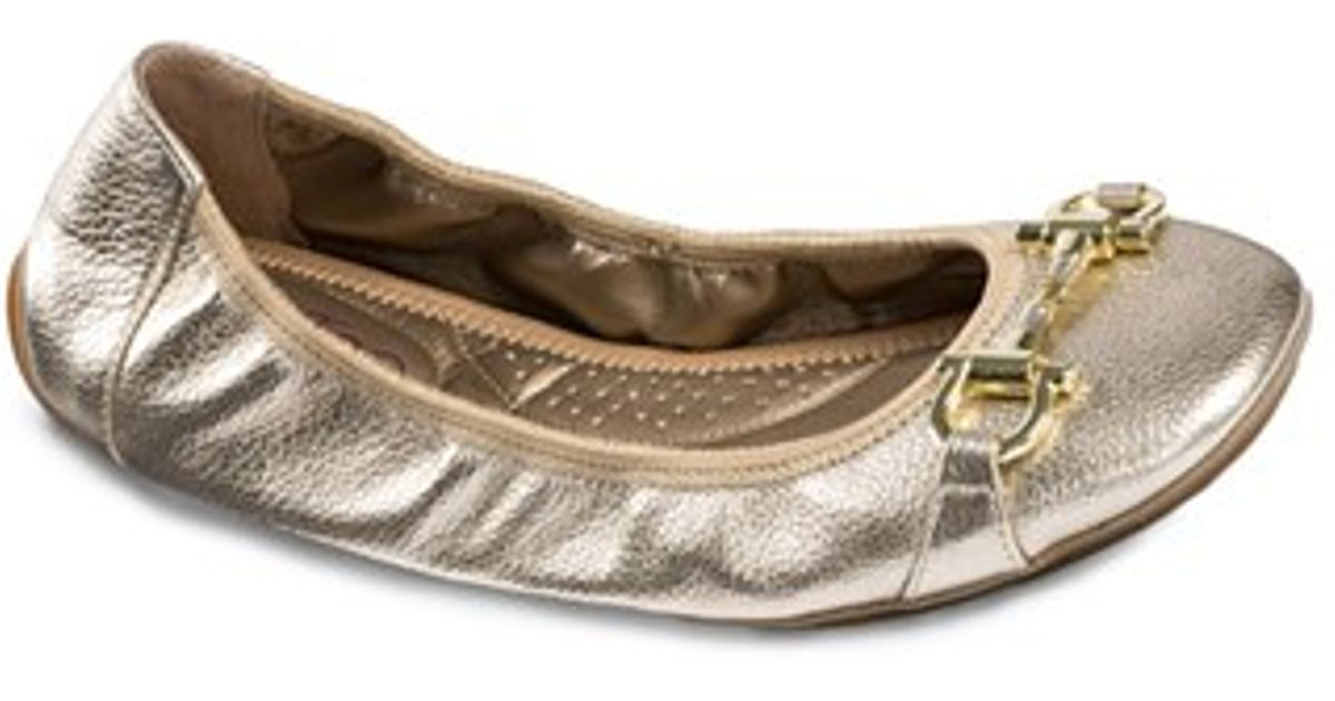 78812a6f2a Lyst - Me Too  lore  Nappa Leather Ballet Flat in Metallic