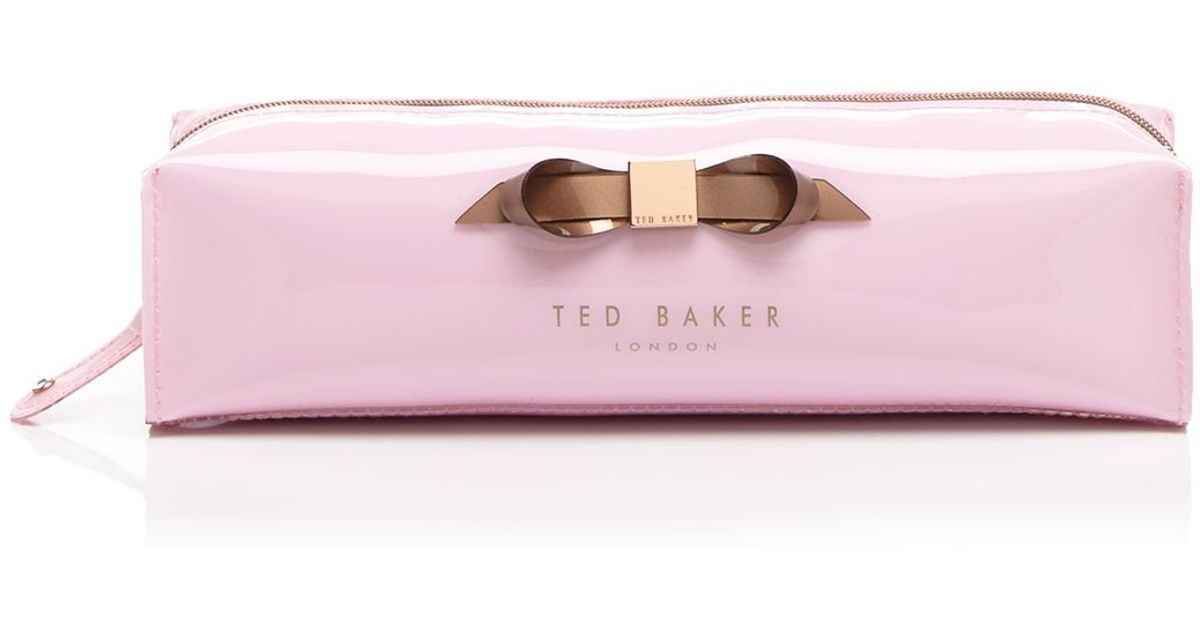 08763b0c886d0 Lyst - Ted Baker Britni Slim Bow Pencil Case in Pink