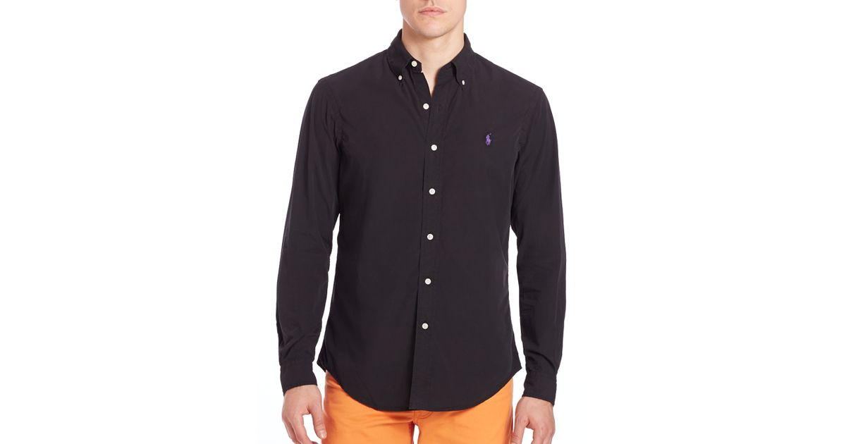 7000cb89d Polo Ralph Lauren Poplin Button-up in Black for Men - Lyst