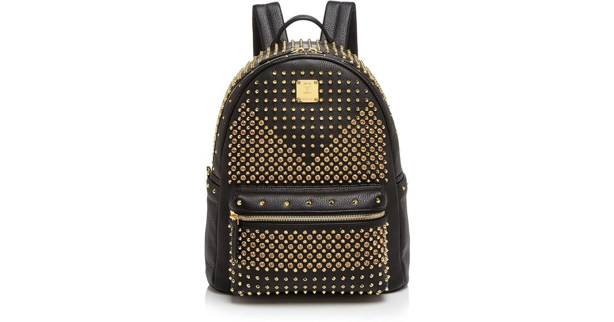 Lyst - MCM Backpack - Stark Special Leather Stud Medium in Black fa40f81baa