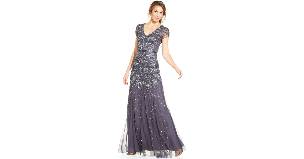 dfbb39bffbd Adrianna Papell Cap-sleeve Embellished Gown in Metallic - Lyst