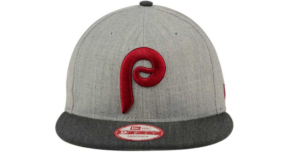 8b4b7ffe17a Lyst - KTZ Philadelphia Phillies Heather Action 9fifty Snapback Cap in Gray  for Men