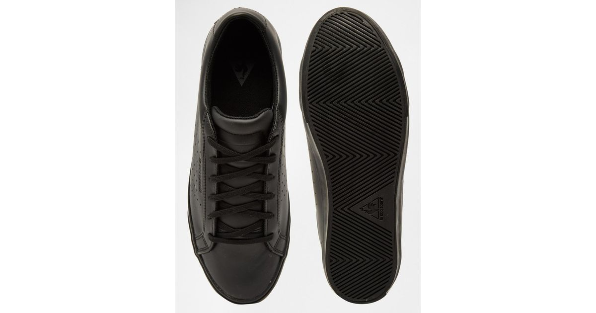 Lyst - Le Coq Sportif Prestige Court Leather Trainers in Black for Men 07f609c2d262