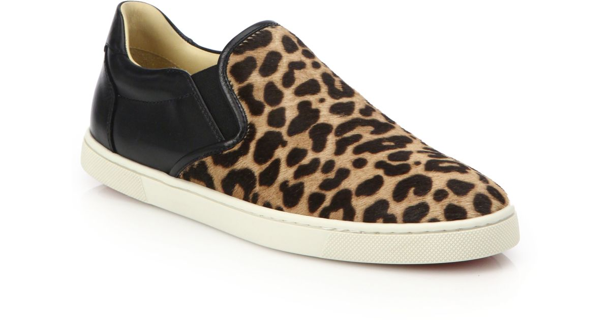 christian louboutin gondoliere leopard-print calf hair sneakers