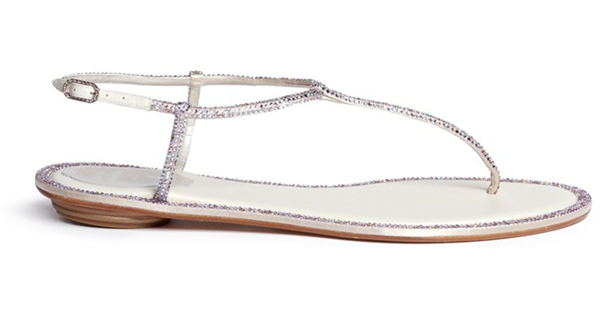 6a8b723cd2c7 Lyst - Rene Caovilla Embellished Pearl Bow Thong Sandals in White