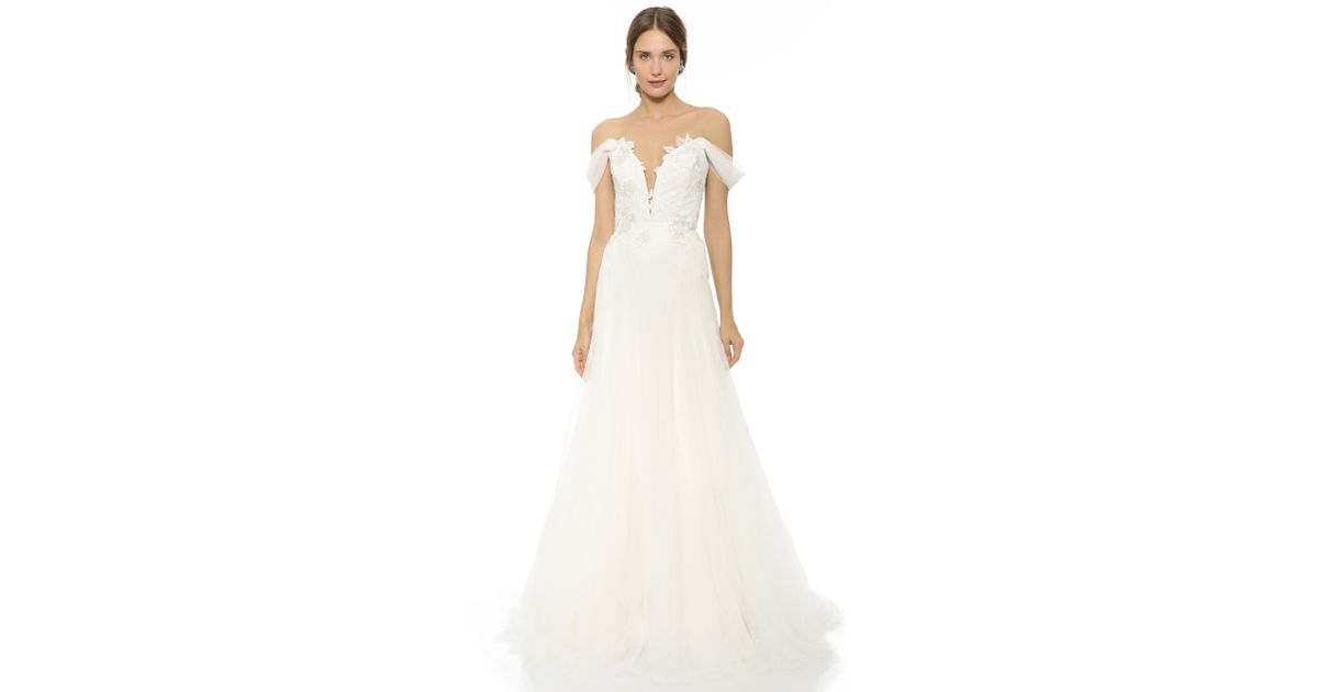 1d5d55e5 Marchesa Hyacinth Gown With Plunging Neckline in White - Lyst