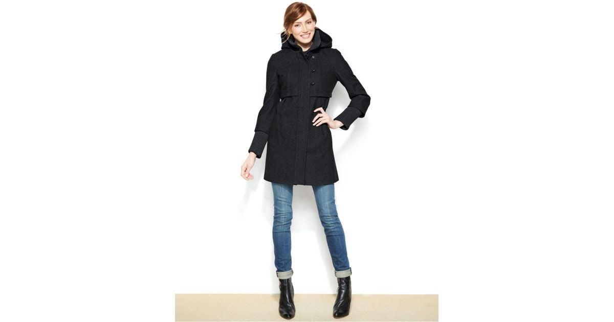 Dkny Petite Hooded Wool-Blend Empire-Waist Coat in Black | Lyst