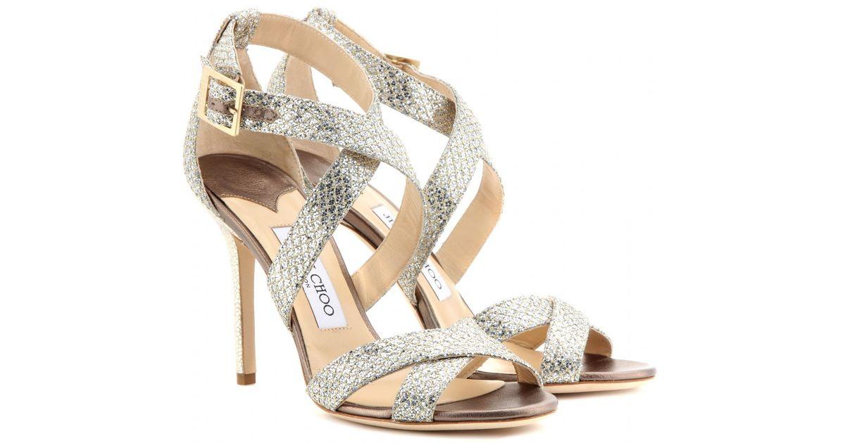 Jimmy Choo Lottie Glitter Sandals in