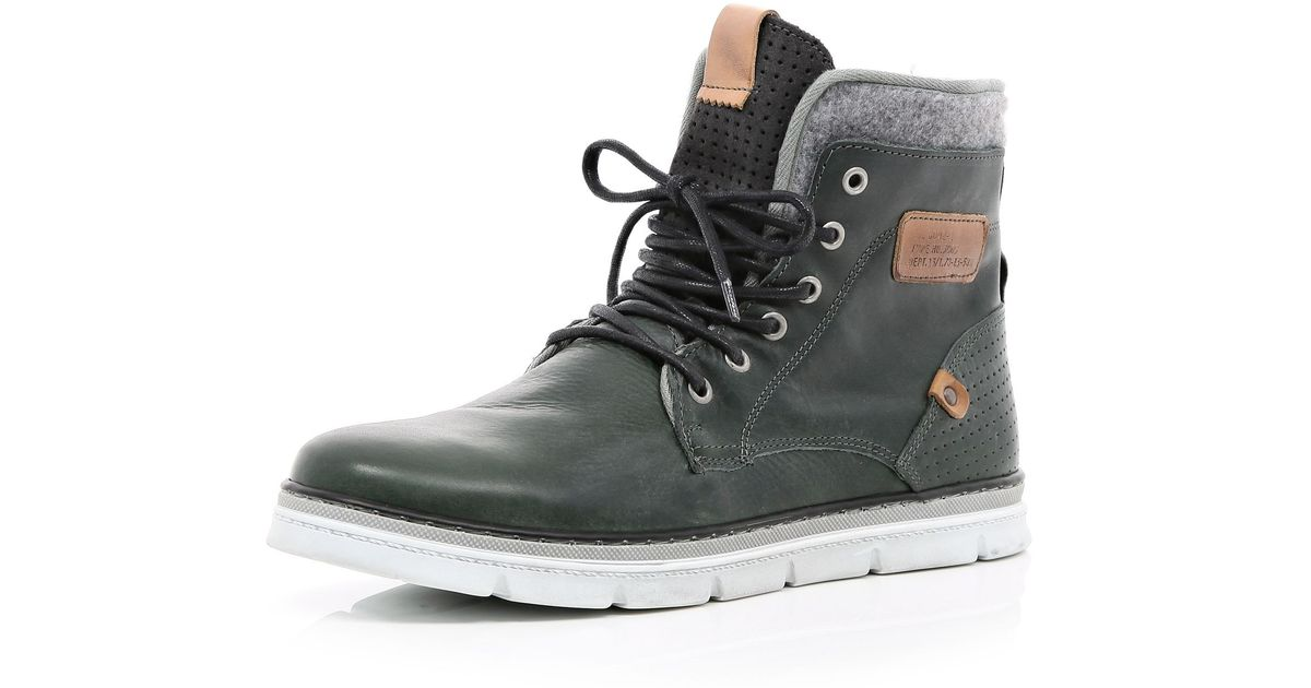 Brown Contrast Panel Chunky Sole Boots Boots Shoes Boots Men