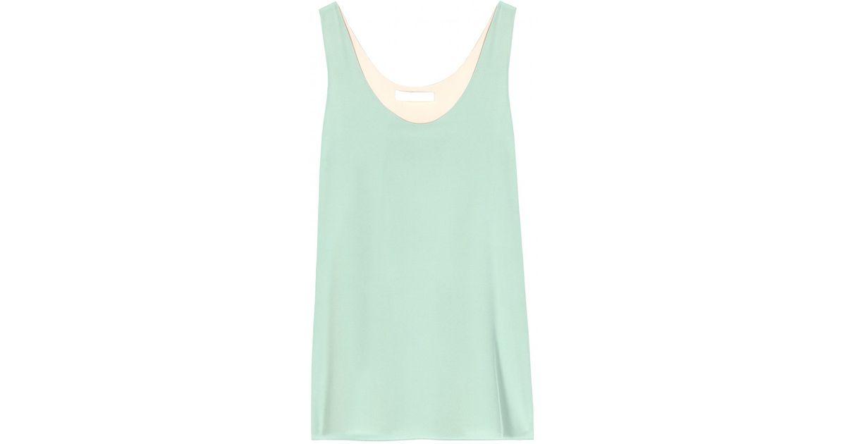 ad808e758f070 Lyst - Chloé Silk Tank Top in Green