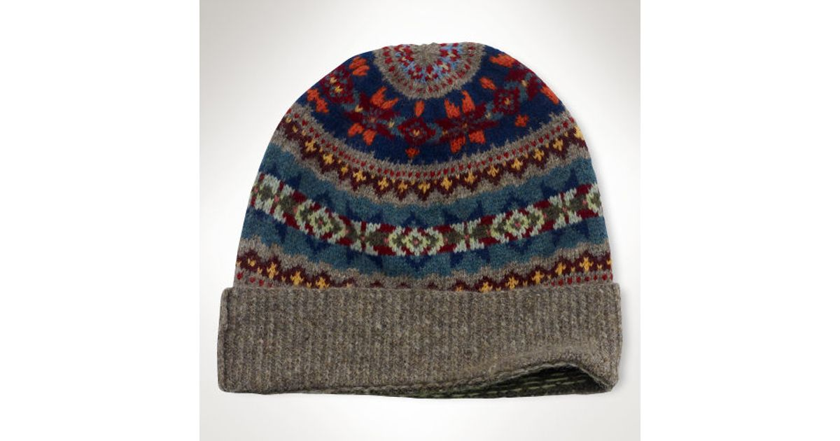 Lyst - Polo ralph lauren Fair Isle Wool Hat in Gray for Men