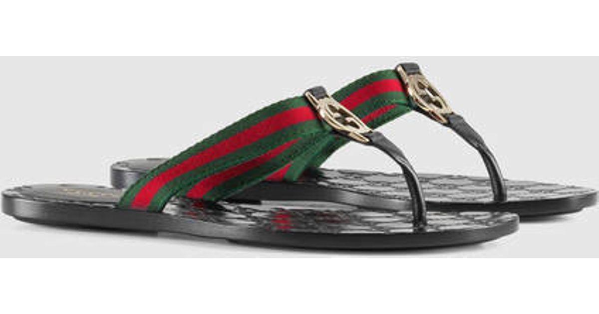 d8cd7276b030 Lyst - Gucci Gg Thong Web Sandal in Brown