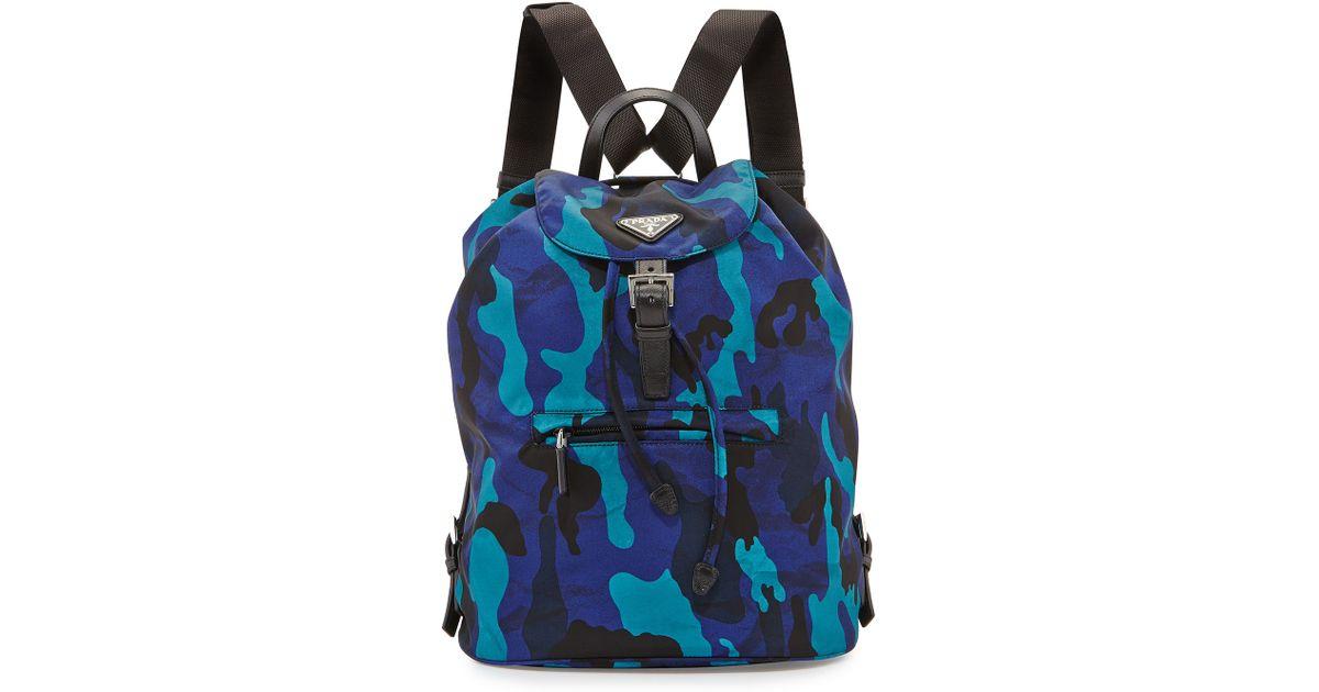 cb060475f8a1 Prada Tessuto Camouflage Backpack in Blue - Lyst