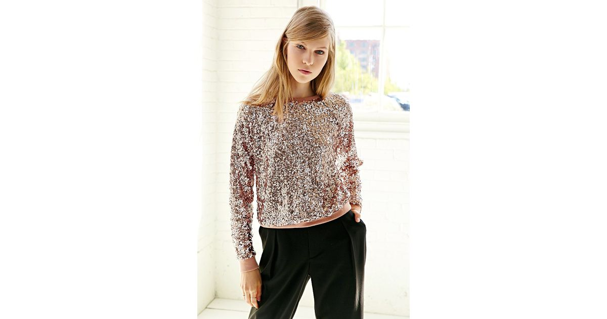 7ce75165cb2349 Lyst - Love Sadie Disco Sequin Top in Pink