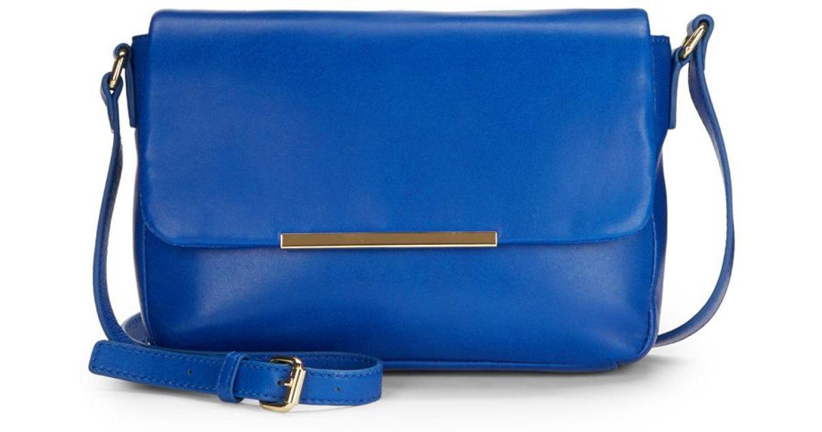 Saks Fifth Avenue Black Blue Metal Bar Leather Crossbody Bag