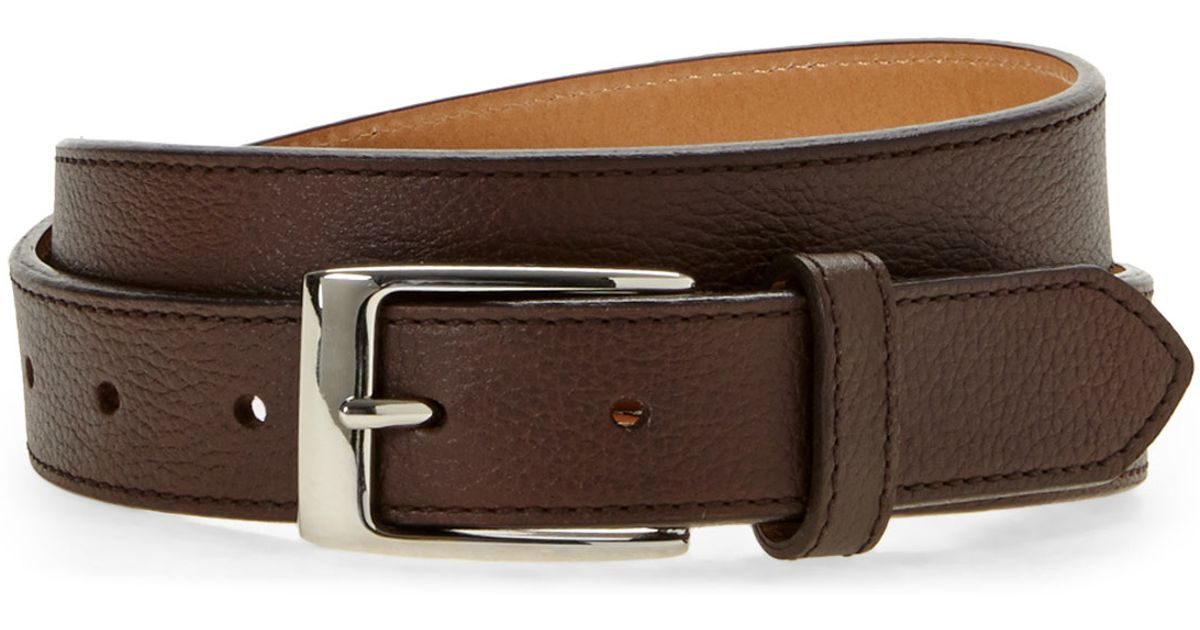 dockers brown pebbled leather belt in brown for lyst