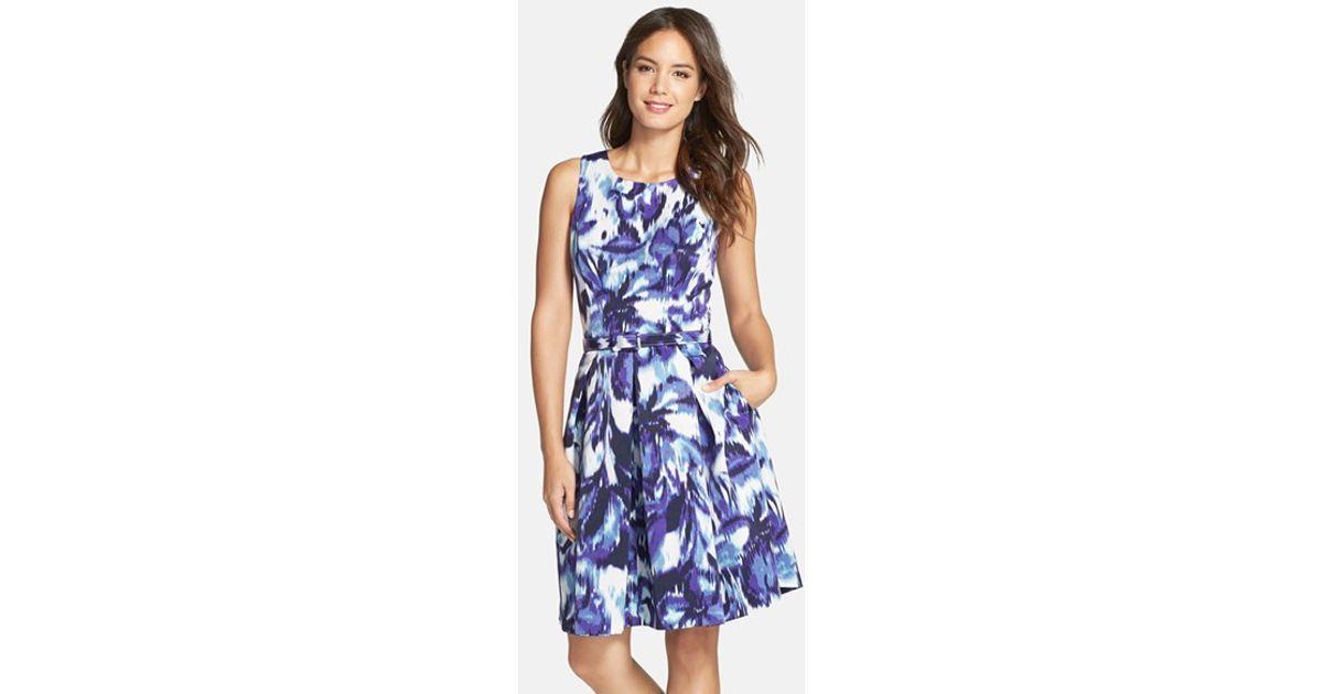 f50de767905e7 Eliza J Blue Floral Print Faille Fit & Flare Dress