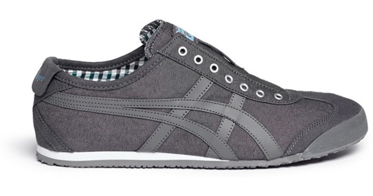 the latest 437e6 aeffb Onitsuka Tiger Gray 'mexico 66' Canvas Slip-on Sneakers for men