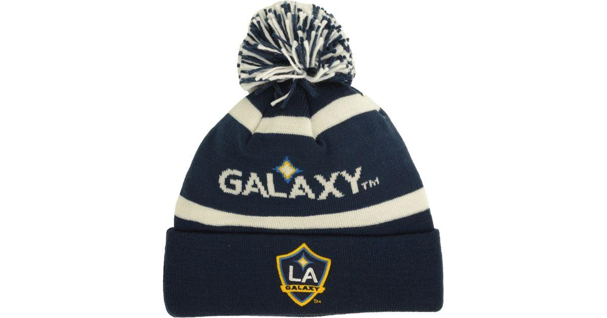 cc0e5db0c22 Lyst - adidas Originals La Galaxy Crossbar Knit Hat in Blue