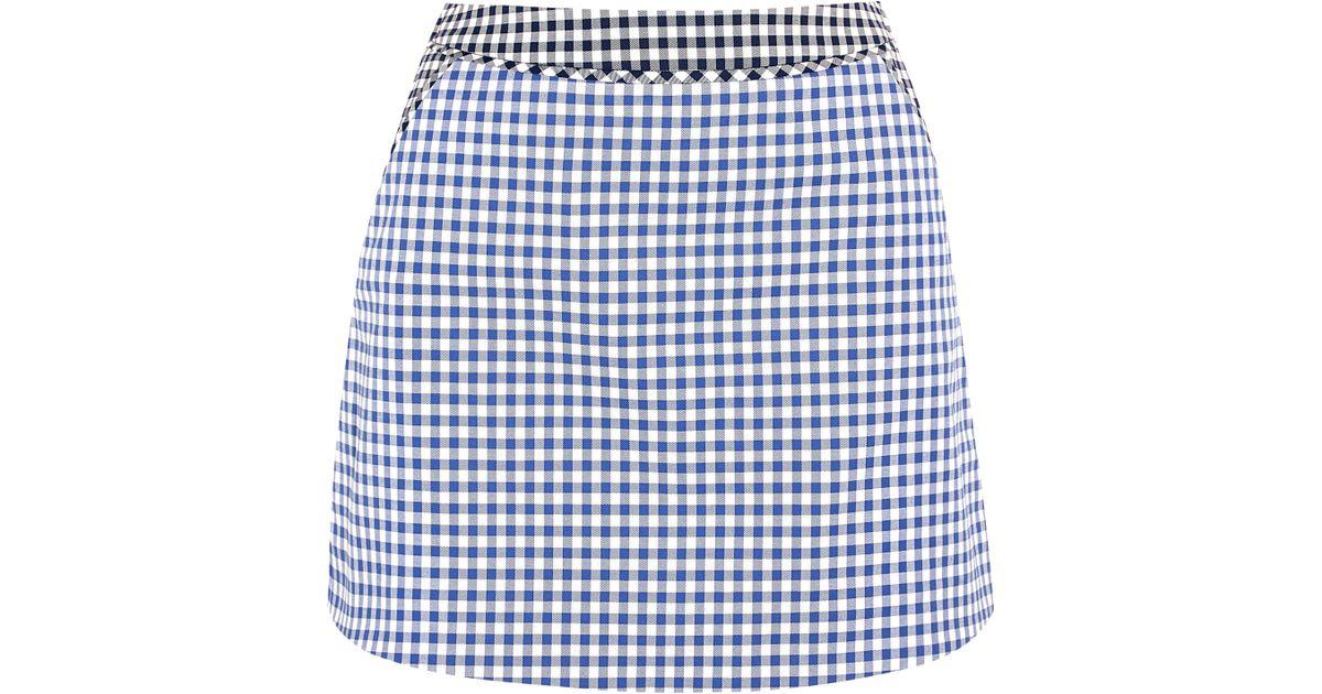 richard nicoll gingham stretch cotton twill mini skirt in