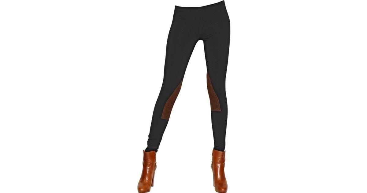 e1081d656e9932 Polo Ralph Lauren Jodhpur Cotton Jersey & Leather Leggings in Black - Lyst