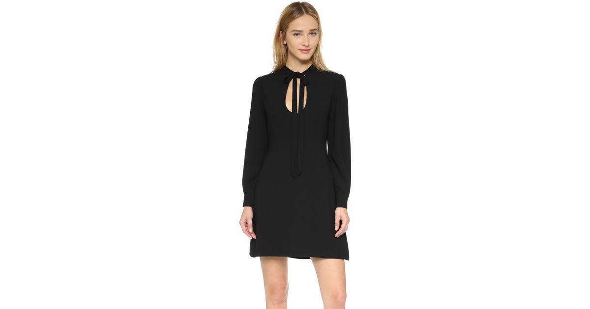Lyst Jill Jill Stuart Tie Neck Long Sleeve Dress In Black