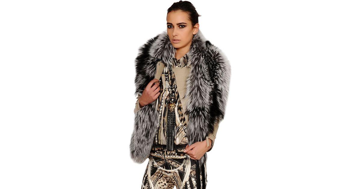free shipping 5e480 b1cc4 Roberto Cavalli Gray Silver Fox Fur Stole