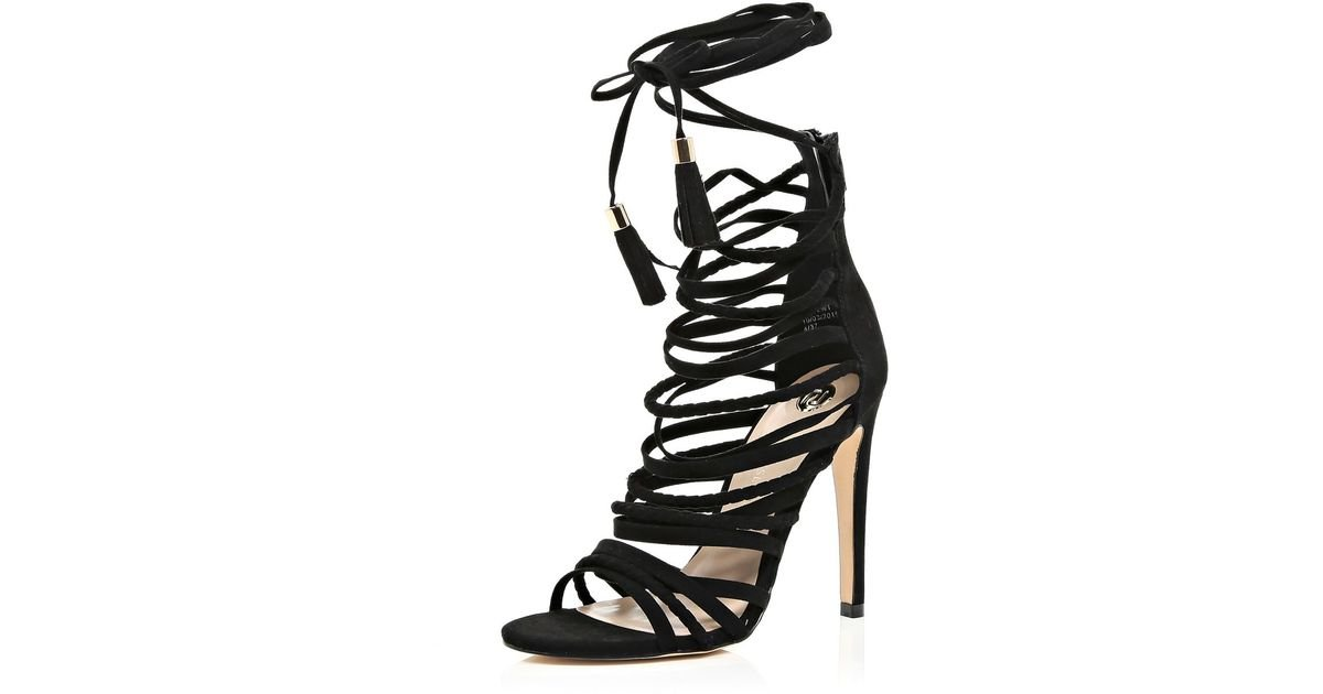 River Island Black Suede Caged Strappy