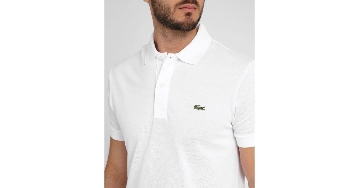 lacoste white logo short sleeve polo shirt in white for. Black Bedroom Furniture Sets. Home Design Ideas