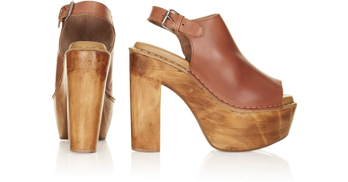 989a4cc6f7 TOPSHOP Sunshine Wooden Heel Shoes in Brown - Lyst