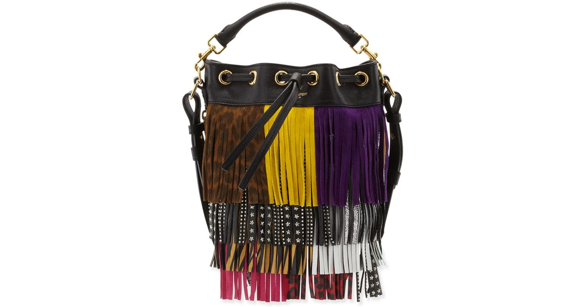 chanel mini flap bag replica - Saint laurent Emmanuelle Mixed-fringe Small Bucket Bag in ...