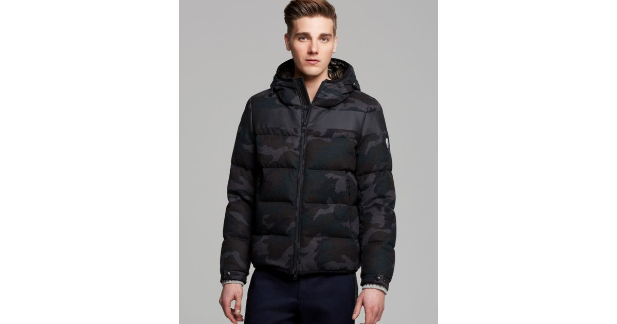 83dc07eb5 Moncler Gray Erault Camo Hooded Down Jacket for men