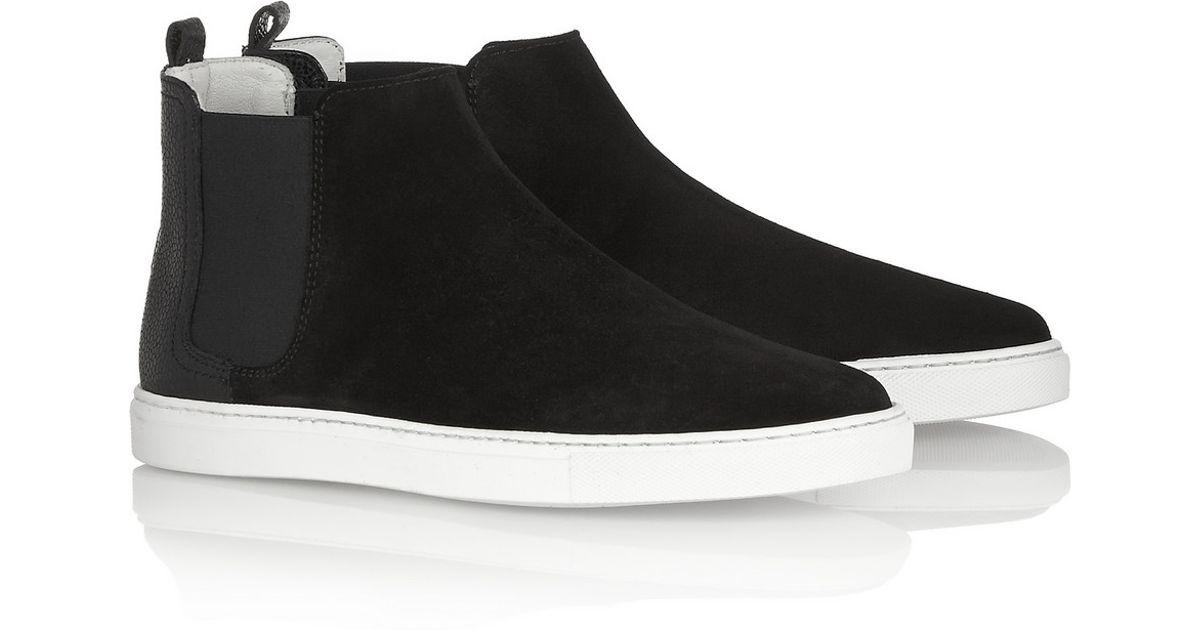 Suede Lanvin On Black High Top Slip Sneakers OXiukTZPwl