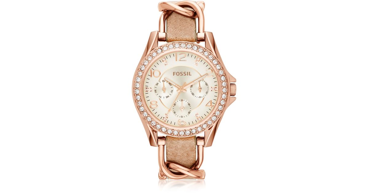 FOSSIL Jacqueline Rose Dial Grey Leather Strap Ladies