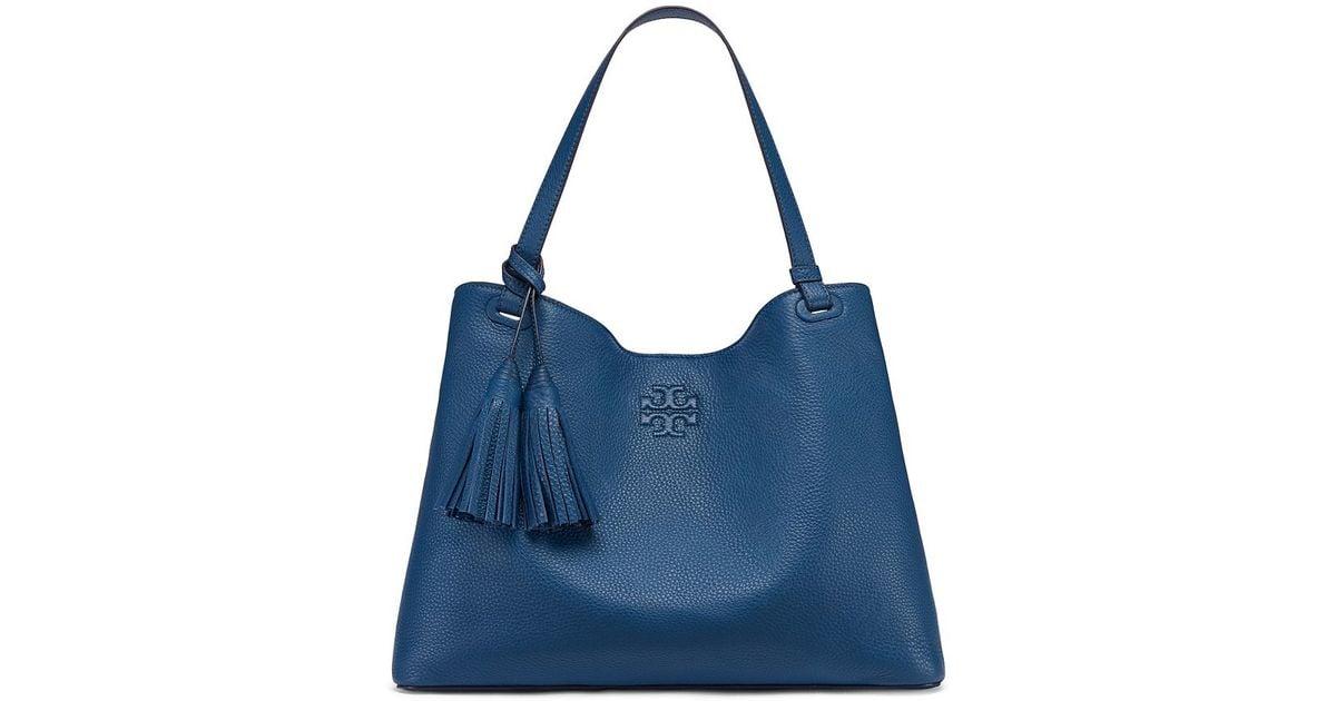 b31c554f59e Tory Burch Thea Center-zip Tote in Blue - Lyst