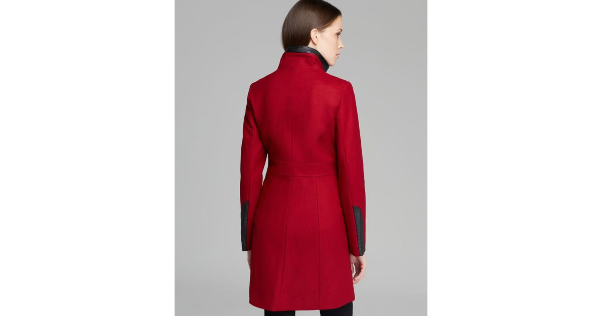 Via Spiga Coat Ly Faux Leather In Red Lyst