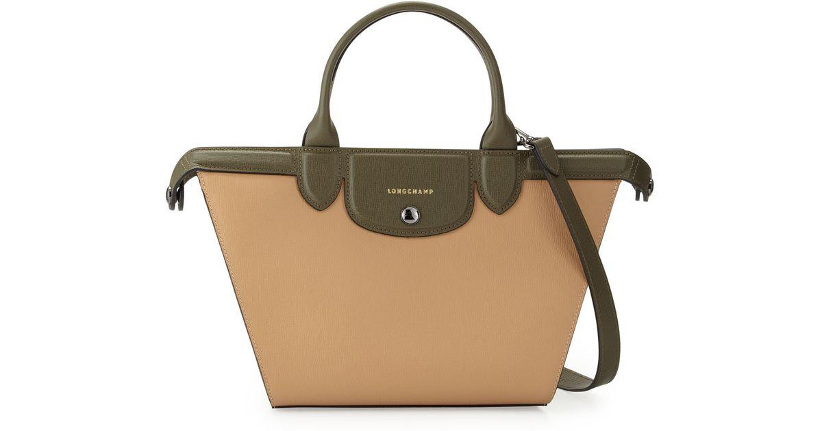 751c4daf6c9e Lyst - Longchamp Le Pliage Heritage Medium Tricolor Satchel Bag in Natural