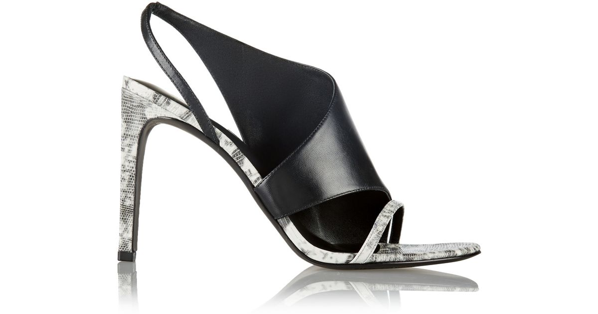 Great Offers Alexander Wang Sandals Black Benoit Paneled Printed Textured leather