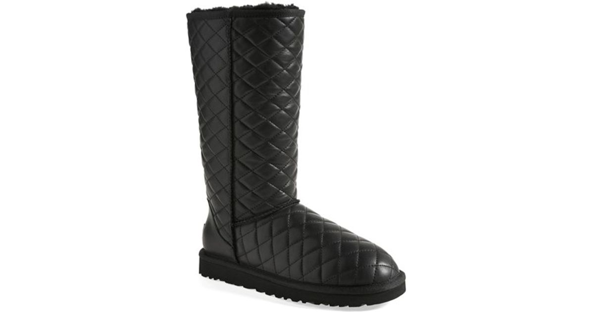 Ugg Leather Ugg Classic Tall Diamond Quilted Boot In