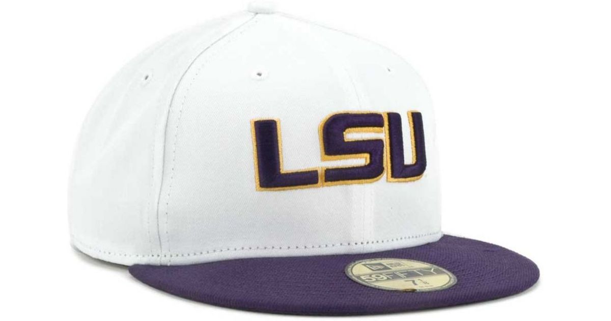 the cheapest amazon sports shoes KTZ Lsu Tigers 2 Tone 59Fifty Cap in White/Purple (White) for Men ...