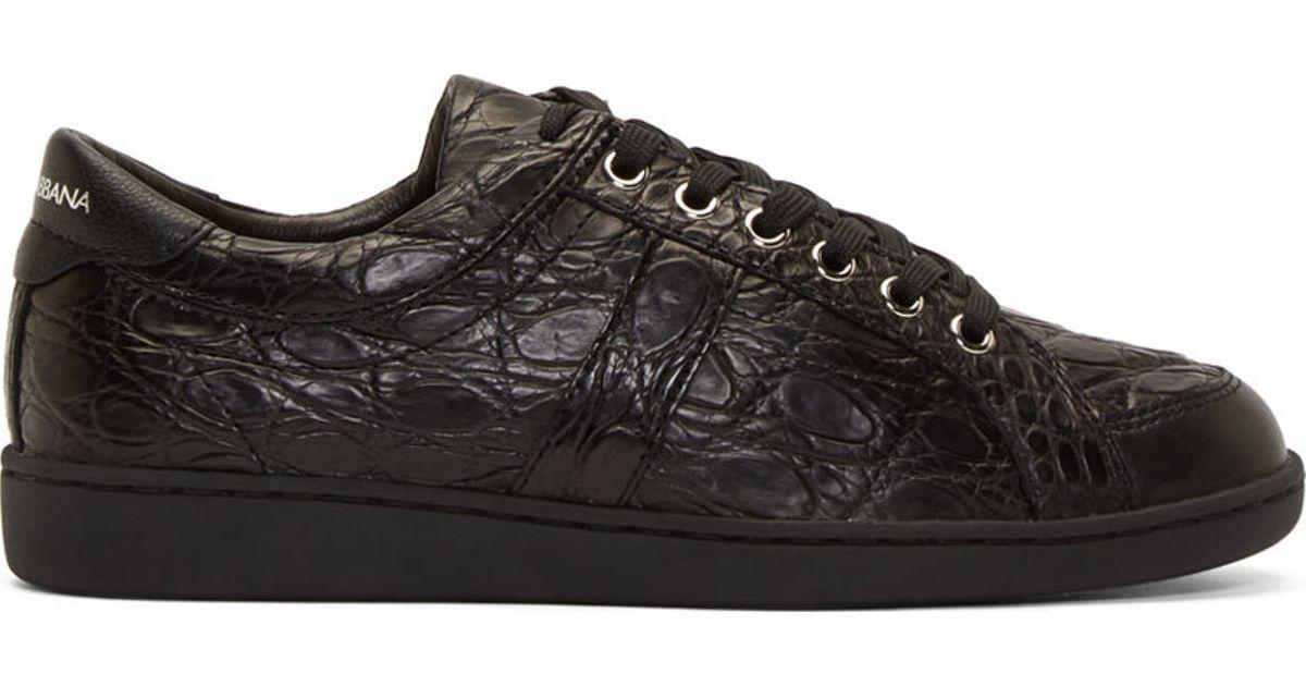633a7f67af Dolce & Gabbana Black Crocodile Leather Sneakers for men