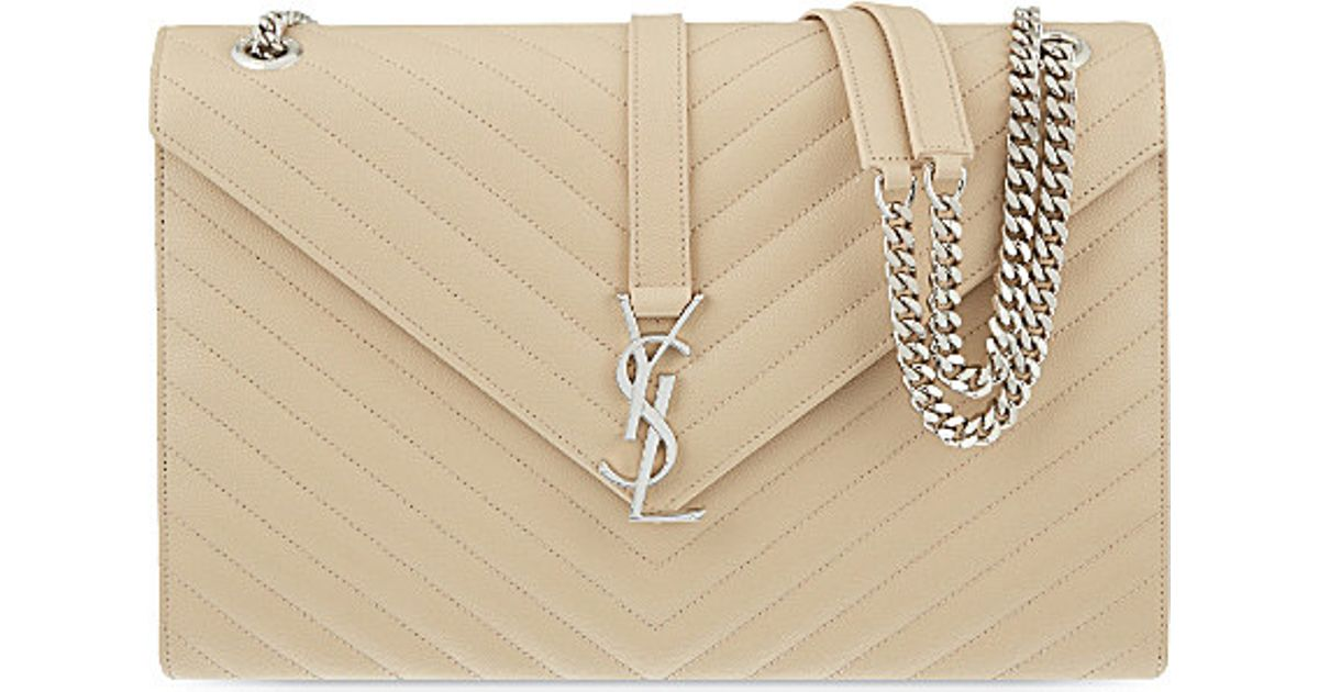 d12b21b289 Saint Laurent Monogram Large Quilted Leather Shoulder Bag in Natural - Lyst