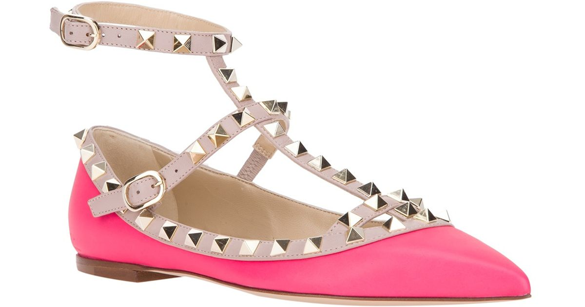 04e678af879a Valentino - Pink Rockstud Ballerina Flat - Lyst