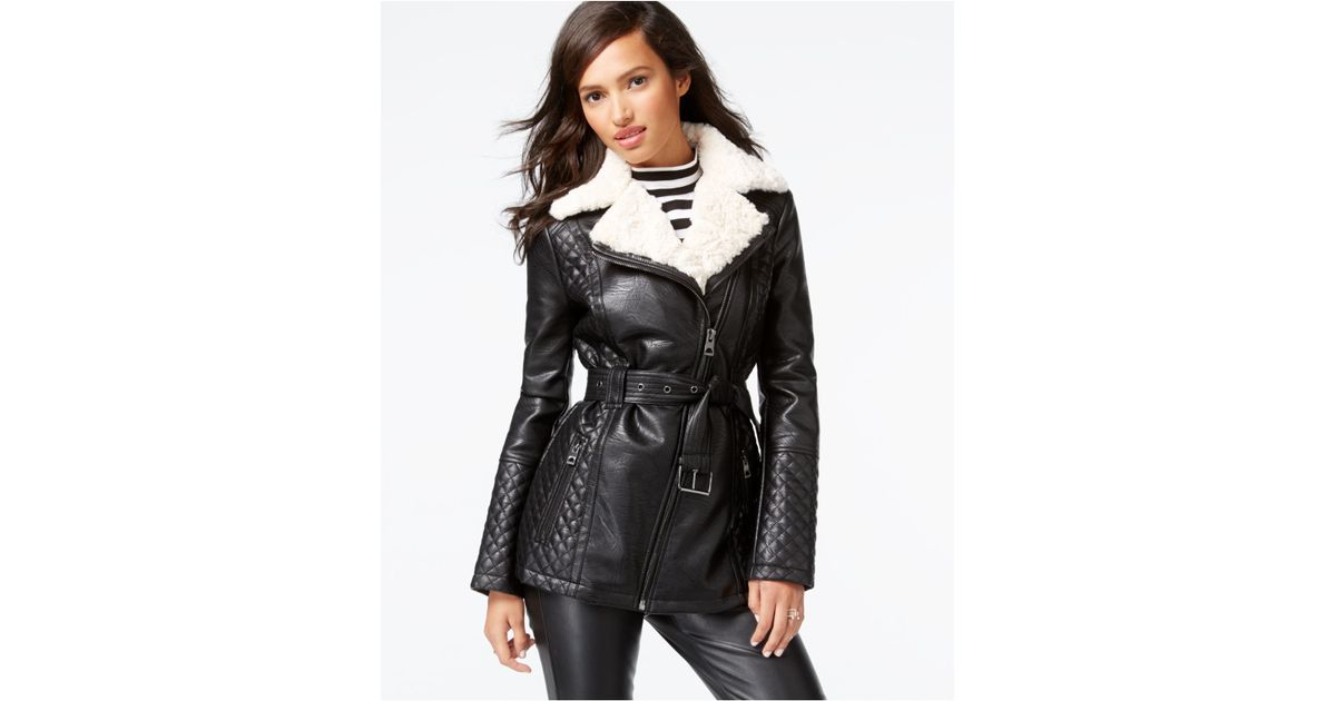 864b04ea8 Guess Black Faux-fur-collar Quilted Faux-leather Jacket