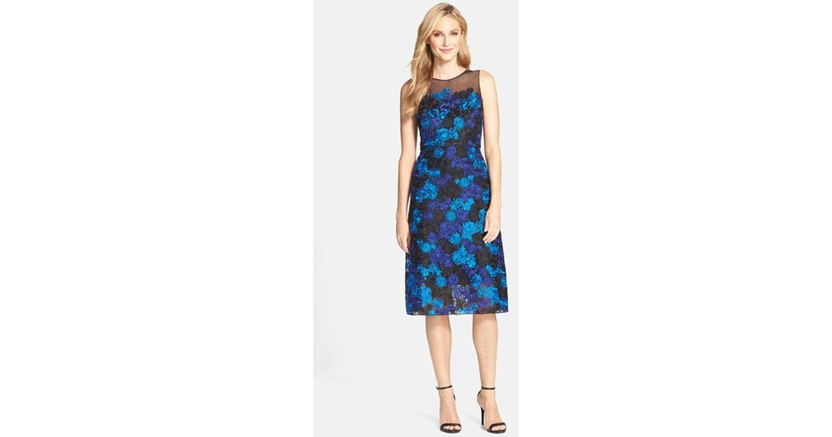 Julia Jordan Blue Illusion Yoke Lace Fit & Flare Dress