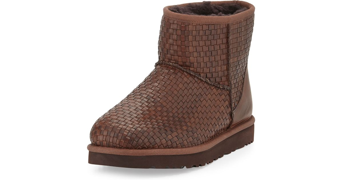 ugg australia woven leather mini boot cognac
