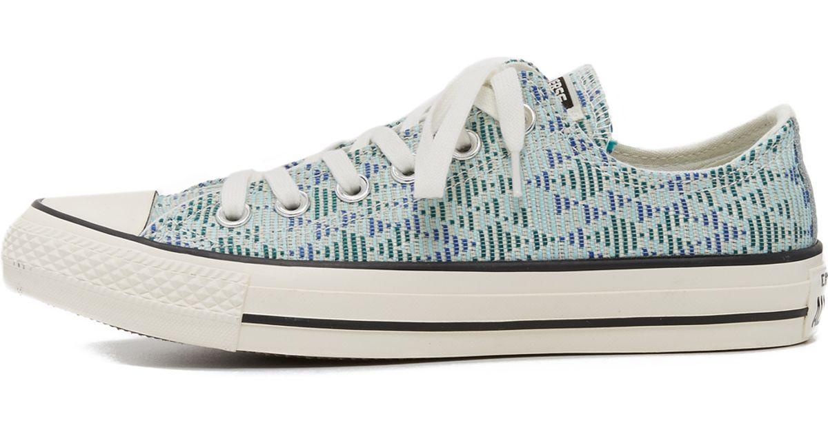 92d65048a70201 Lyst - Converse Chuck Taylor All Star Raffia Sneakers in Blue