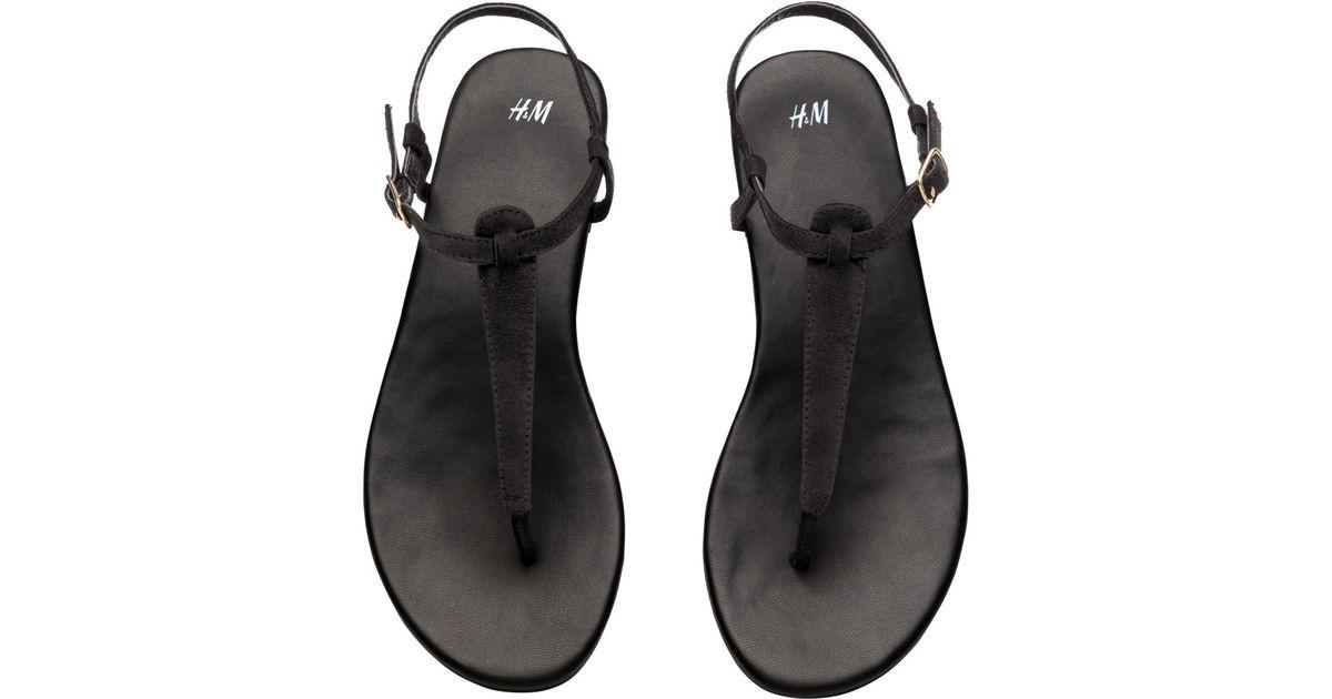 H\u0026M Toe-post Sandals in Black - Lyst