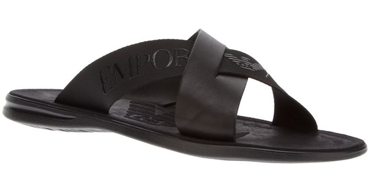93f51e9b22506 Lyst - Emporio Armani Logo Cross-over Sandal in Black for Men
