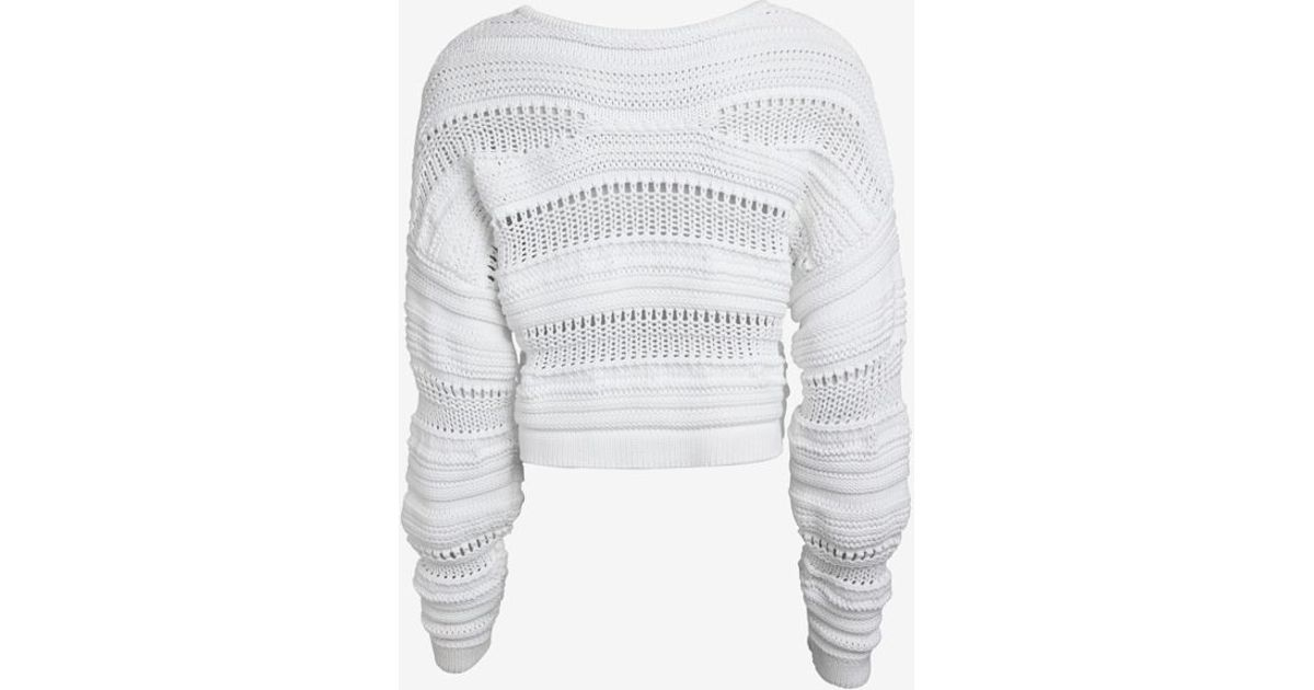 ef39b737 Helmut Lang Supple Cord Crop Sweater in White - Lyst